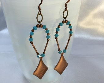 Antiqued Copper and Turquoise Kite Earrings.