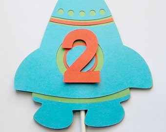 Blast off birthday, Spaceship topper, Rocket ship topper, personalized space topper, spaceship smash cake, space birthday party