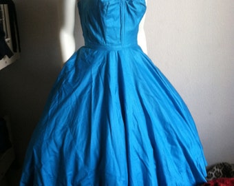 Vintage 50s Strapless Turquoise Cotton Shelf Bust Full Circle Skirt Dress Pin Up 1950s 1940s 1960s