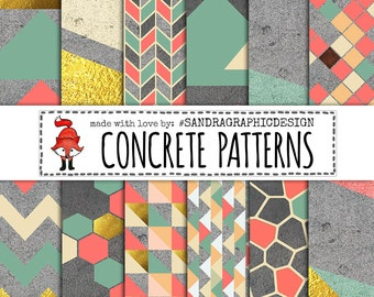 """Digital paper: """"CONCRETE PATTERNS"""" with modern geometric patterns on concrete texture, in pastel colors and gold (1166)"""