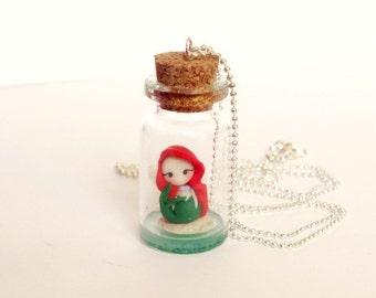 Ariel little mermaid. Bottle necklace. Ariel in the bottle. Silver chain. Handmade polymer clay. Disney jewelry. Clay charm.