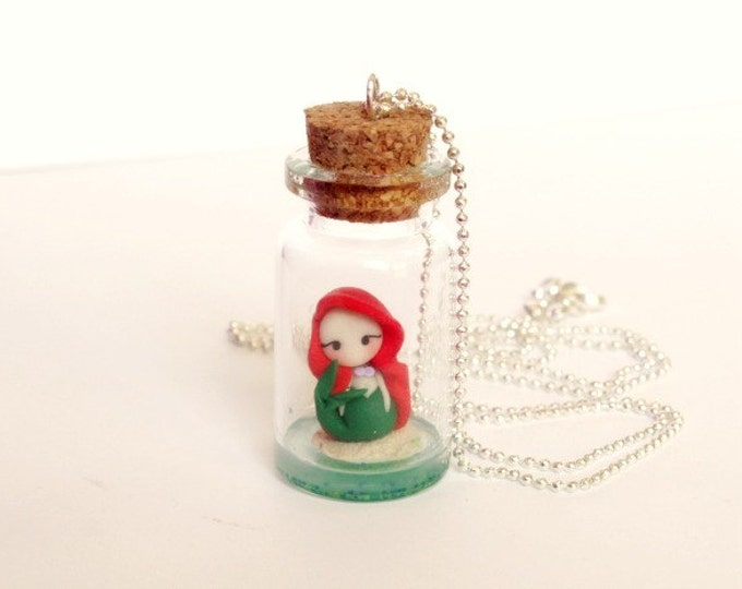 Ariel little mermaid. Bottle necklace. Ariel in the bottle. Silver chain. Handmade polymer clay. Disney jewelry. Clay charm.