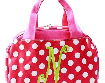 SALE***Emroidered Personalized Lunch Tote, Letter N, Single Initial Monogram; Lunchbox Lunchbag