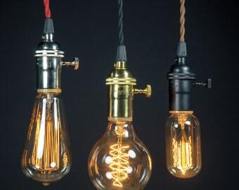 Switch Knob Brass socket Edison bare bulb pendant light industrial style & Bare bulb | Etsy azcodes.com