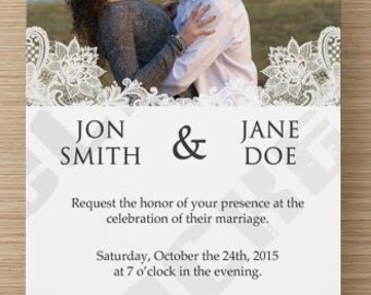 Custom Lace Wedding Invitation/RSVP Card- Personalize Colors, Fonts, Verbiage & More! Perfect for Shabby Chic Wedding!