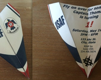 Custom US Air Force Thunderbirds Paper Airplane Invitation - Personalize Font, Verbiage & More! Perfect for Birthdays, Promotions, Etc!