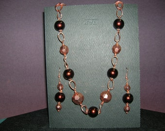 Copper and brown necklace and earrings