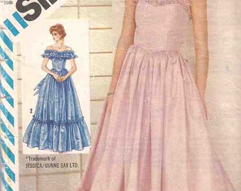 Simplicity 6386 Sewing pattern, Evening gown pattern, Gunne Sax, complete pattern, misses size 12, 80s eighties 1980s, retro, vintage sewing