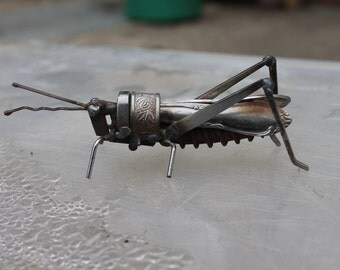 """3"""" Scrap Metal Grasshopper, Sculpture, Recycled, Repurposed"""