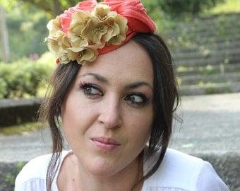 Orange Fascinator Hat,Fashion Turban Women, Wedding Turban Flowers, Orange Headpiece with Gold Flowers
