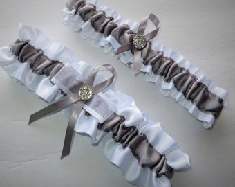 White and Silver Garter Set, Keepsake and Toss-away Garter Set, Ribbon Garter, Prom Garter, Silver Garter, Bridal Garter, Wedding Garter