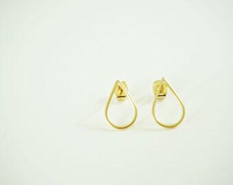 Delicate Matte Gold Teardrop Post Stud Earrings