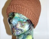 RESERVE LISTING for Judith Only - Adult Size Organic Cotton Hand Knit Pecan Brown Deer Ears Beanie Hat