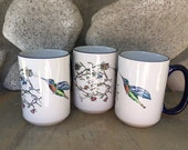 RESERVED 1 Art Mug TERESSA - Hummingbird Love Sketch Drawing Fired to Ceramic 15oz. Coffee Cups with Navy Blue Rim & Handle