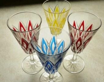 German Crystal Aperitif Cordial Glasses Set Four