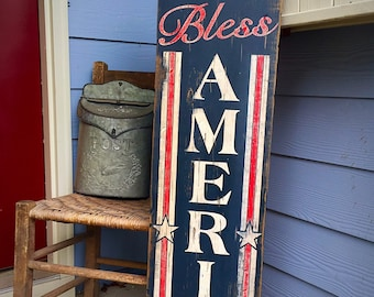 Wooden Sign - God Bless America - Vertical - American Flag - USA - Patriotic - Red White Blue - Rustic - Pallet - Porch Decor -