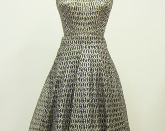 Anna Giovannozzi, 1960's Woven Raffia Halter Dress, Black and Gold