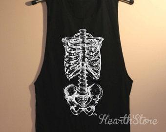 Skeleton Shirt Bones Muscle Tee Tank Top TShirt T Shirt Yoga Top Gym Workout Tank - size S M L