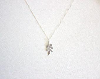 Pinnate Leaf Necklace - Silver Leaf Pendant - Minimalist Jewelry