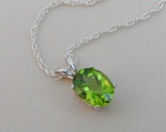Peridot Pendant in Sterling Silver, Peridot Necklace, 9x7mm Peridot Gemstone, August Birthstone, Bride Necklace, Wedding Jewelry
