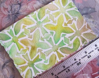 "Pattern Eleanor in Yellow-Green (4""x6"" Watercolor Painting)"