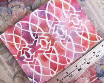 """Pattern Crystal in Pink & Purple (5""""x7"""" Watercolor Painting)"""