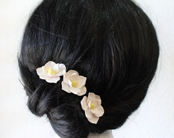 White Magnolia - Flower Hair Clips. Flower Accessories -  Magnolia Wedding Hair Accessories, Wedding Hair Flower Hair - set