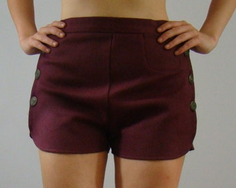 I G W T   Burgundy  Side Button Shorts