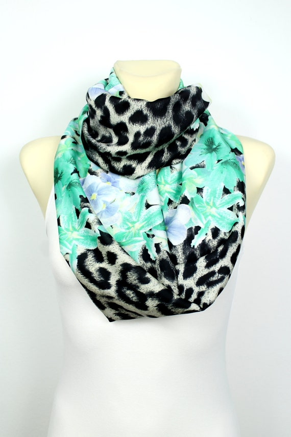 Turquoise Infinity Scarf - Floral Print Infinity Scarf - Leopard Infinity Scarf - Printed Fabric Infinity Scarf - Women Fashion Accessories