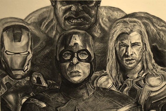 Avengers Pencil Drawing Avengers Poster of Pencil