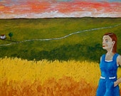 "Life On the American Plains (ORIGINAL ACRYLIC PAINTING) 10"" x 20"" by Mike Kraus"