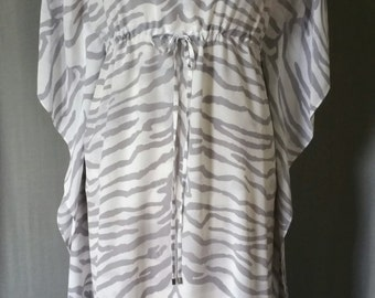 100% silk georgette kaftan dress