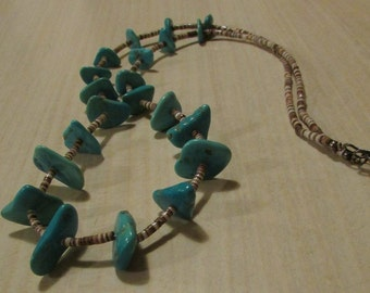 "Turquoise and Olive Heshi Necklace 26 1/2"""