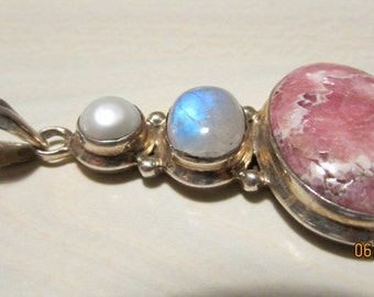 Sterling Silver Moonstone Rhodochrosite and Pearl Pendant