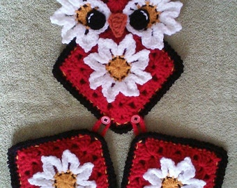 Crochet Owl Potholder Holder Pattern Only