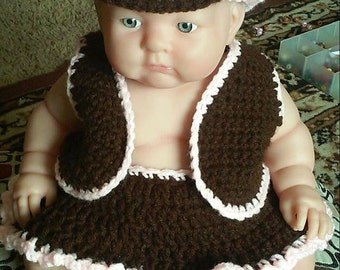 Crochet CowGirl Baby Outfit Size New Born-6 Months Pattern Only