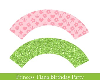 Frog Princess Cupcake wrappers, cupcake wrapper printable, cupcake label, Party Printable, Frog Princess, Party Decorations