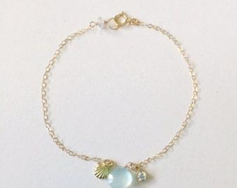 MAKENA bracelet - aqua chalcedony bracelet, cubic zirconia, shell charm bracelet, beach jewelry, resort jewelry, beach wedding, komakai
