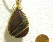 Tiger Iron (Tiger Eye, Red Jasper, Hematite) Wrapped in 14kt Gold-Filled Wire
