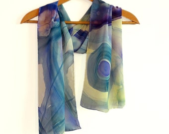 Hand painted silk chiffon scarf. Abstract blue scarf. Original long scarf in violet, blue and yellow. Abstract scarf. Women Christmas gift.