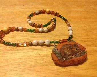 Mouse pottery shard necklace