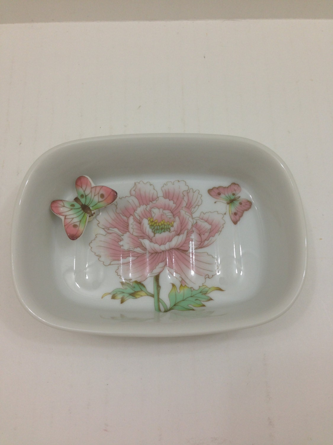 Vintage White Ceramic Soap Dish With Pink Butterflies And