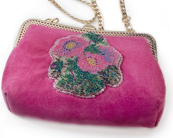 Spring gift her Women purse mini Bright purse her Pink wedding purse Statement small bag Pink suede Women pink bag Small leather purse