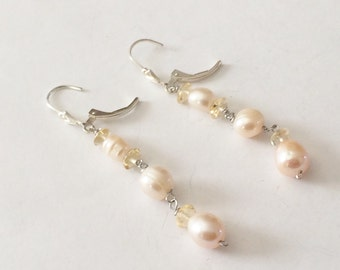 Sterling Silver Freshwater Pearls And Glass Bead Earrings