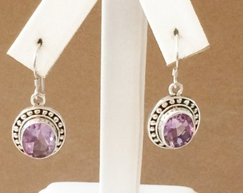 Sterling Silver And 4ct Each Amethyst Earrings