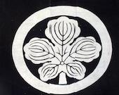 Japanese antique  indigo textile handwoven hand dyed katazome resist tsutsugaki fabric with samurai crest for the Abe Clan Meiji period
