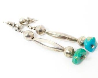 Long Sterling Silver Drop Earrings with Turquoise Stone Below Lightweight Sterling Silver in Southwestern Style