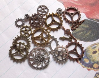 18 charms Grab bag of different styles and colors of cogs and gears 18 pieces   silver,copper and bronze color cogs or gear wheels