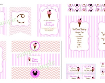 Minnie's Ice Cream Shop Printables Collection