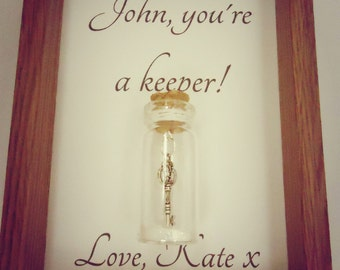 You're a keeper. Girlfriend gift, boyfriend gift, friend gift. Can be personalised with your own message.
